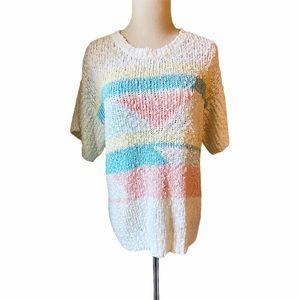 Vintage 80s Pastel Color Block Sweater Large